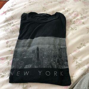 soft long black mew york skyline shirt